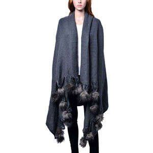 Graphite 100% Acrylic Throw-Shawl With Pom Pom Trim (64x52 in)
