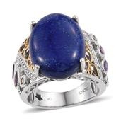 GP Lapis Lazuli, Multi Gemstone Platinum Over Sterling Silver Enlarged Openwork Ring (Size 7.0) TGW 21.390 cts.