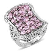 Simulated Pink Diamond Stainless Steel Openwork Ring (Size 5.0) TGW 11.220 cts.