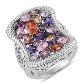 Simulated Multi Color Diamond Stainless Steel Openwork Ring (Size 5.0) TGW 11.350 cts.
