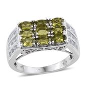 Vesuvianite, White Topaz Platinum Over Sterling Silver Signet Ring (Size 7.0) TGW 3.660 cts.