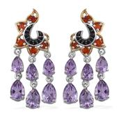 Bahia Amethyst, Multi Gemstone 14K YG and Platinum Over Sterling Silver Chandelier Earrings TGW 7.130 cts.