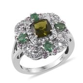 Vesuvianite, Multi Gemstone Platinum Over Sterling Silver Ring (Size 8.0) TGW 3.23 cts.