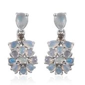 Ethiopian Welo Opal Platinum Over Sterling Silver Earrings TGW 3.36 cts.