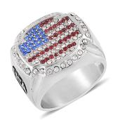 Red, Blue and White Austrian Crystal Stainless Steel Men's Ring (Size 10.0)