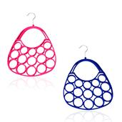 Pink and Blue Velvet Silvertone Set of 2 Handbag Scarf Hangers (11 in)