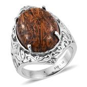 Mega Clearance Indian Script Stone Stainless Steel Ring (Size 9.0) TGW 16.250 cts.