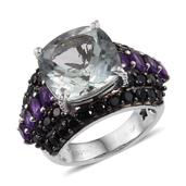 GP Green Amethyst, Multi Gemstone Platinum Over Sterling Silver Ring (Size 8.0) TGW 14.560 cts.