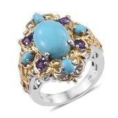 Arizona Sleeping Beauty Turquoise, Amethyst 14K YG and Platinum Over Sterling Silver Ring (Size 6.0) TGW 6.520 cts.