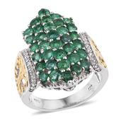 Kagem Zambian Emerald, White Zircon 14K YG and Platinum Over Sterling Silver Ring (Size 6.0) TGW 4.110 cts.