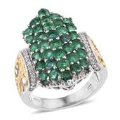 Kagem Zambian Emerald, White Zircon 14K YG and Platinum Over Sterling Silver Ring (Size 7.0) TGW 4.110 cts.
