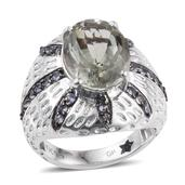 GP Green Amethyst, Multi Gemstone Platinum Over Sterling Silver Ring (Size 8.0) TGW 6.55 cts.