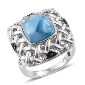 GP Larimar, Multi Gemstone Platinum Over Sterling Silver Ring (Size 6.0) TGW 6.29 cts.