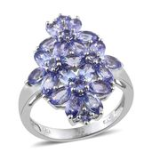 Tanzanite Platinum Over Sterling Silver Floral Cluster Ring (Size 6.0) TGW 5.56 cts.