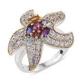 GP Multi Gemstone 14K YG and Platinum Over Sterling Silver Ring (Size 8.0) TGW 3.010 cts.
