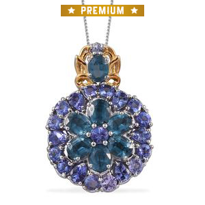 Teal Kyanite, Tanzanite 14K YG and Platinum Over Sterling Silver Pendant With Chain (20 in) TGW 6.37 cts.