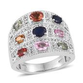 Multi Gemstone Platinum Over Sterling Silver Engraved Statement Ring (Size 5.0) TGW 3.685 cts.