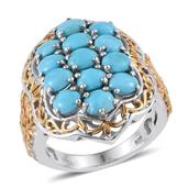 Arizona Sleeping Beauty Turquoise 14K YG and Platinum Over Sterling Silver Ring (Size 5.0) TGW 4.550 cts.