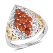 Jalisco Fire Opal, White Topaz 14K YG and Platinum Over Sterling Silver Ring (Size 7.0) TGW 1.930 cts.