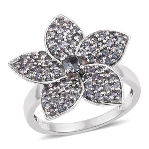 Bekily Color Change Garnet Platinum Over Sterling Silver Floral Ring (Size 5.0) TGW 2.450 cts.