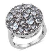 Espirito Santo Aquamarine, White Topaz Platinum Over Sterling Silver Cluster Ring (Size 5.0) TGW 3.960 cts.