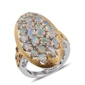 GP Ethiopian Welo Opal, Kanchanaburi Blue Sapphire 14K YG and Platinum Over Sterling Silver Ring (Size 6.0) TGW 2.790 cts.