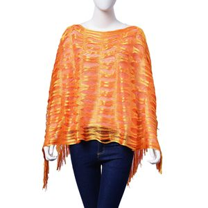 Orange and Yellow 100% Polyester Poncho With Fringe