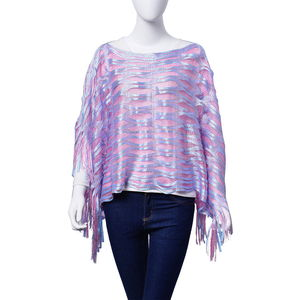 Pink and Blue 100% Polyester Poncho With Fringe