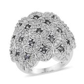 Bekily Color Change Garnet, White Zircon Platinum Over Sterling Silver Cluster Ring (Size 6.0) TGW 2.85 cts.