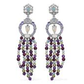 Ethiopian Welo Opal, Multi Gemstone Platinum Over Sterling Silver Chandelier Earrings TGW 21.10 cts.
