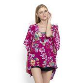 J Francis - Fuchsia Floral Print 100% Cotton Kimono (37x29 in)