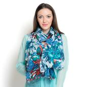 J Francis - White and Blue Floral Print 100% Cotton Scarf (70x39 in)