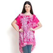 Pink and White Tribal Print 100% Viscose Poncho (35x26 in)