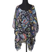 Black Paisely and Flower Print 100% Viscose Poncho (35x26 in)