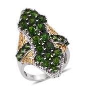 Russian Diopside, White Zircon 14K YG and Platinum Over Sterling Silver Elongated Ring (Size 6.0) TGW 8.46 cts.