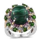 African Malachite, Multi Gemstone 14K YG and Platinum Over Sterling Silver Ring (Size 6.0) TGW 18.200 cts.