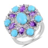 Arizona Sleeping Beauty Turquoise, Tanzanite, Amethyst Sterling Silver Split Ring (Size 6.0) TGW 3.92 cts.