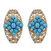 Arizona Sleeping Beauty Turquoise 14K YG and Platinum Over Sterling Silver Openwork Drop Earrings TGW 5.680 Cts.