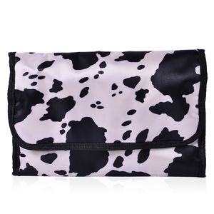 Black and White Splash Print 100% Polyester Foldable Storage Bag (17.5x10 In)