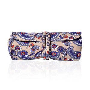 Beige Paisley Print 100% Polyester Foldable Cosmetic Tool Storage Bag (13x8 in)
