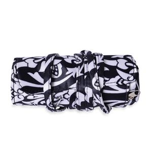 White and Black Fleur de Lis Print Foldable Cosmetic Tool Storage Bag (13x8 in)