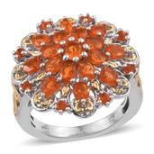 Jalisco Fire Opal 14K YG and Platinum Over Sterling Silver Ring (Size 9.0) TGW 1.980 cts.