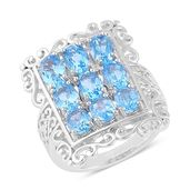 Swiss Blue Topaz, White Topaz Sterling Silver Openwork Statement Ring (Size 6.0) TGW 5.03 cts.