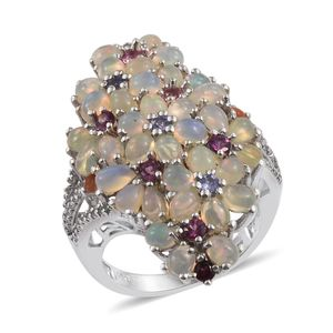 Ethiopian Welo Opal, Multi Gemstone Platinum Over Sterling Silver Ring (Size 6.0) TGW 5.210 cts.