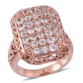 Moroppino Morganite 14K RG Over Sterling Silver Openwork Ring (Size 8.0) TGW 3.720 cts.