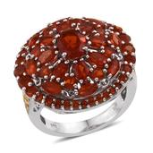 Jalisco Fire Opal 14K YG and Platinum Over Sterling Silver Cluster Ring (Size 10.0) TGW 4.400 cts.