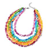 SUGAR by Gay Isber Multi Color Shell Stainless Steel Drape Necklace (20-22 in)