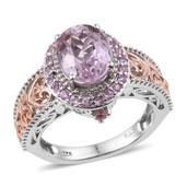 Kunzite, Pink Tourmaline, Madagascar Pink Sapphire 14K RG and Platinum Over Sterling Silver Openwork Ring (Size 8.0) TGW 3.80 cts.