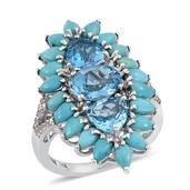 Swiss Blue Topaz, Sonoran Blue Turquoise, White Topaz Platinum Over Sterling Silver Ring (Size 6.0) TGW 9.440 cts.