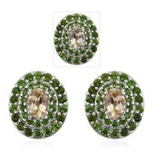 Turkizite, Russian Diopside Platinum Over Sterling Silver Earrings TGW 3.00 cts.